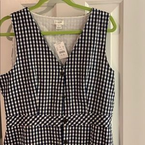 J crew navy gingham dress